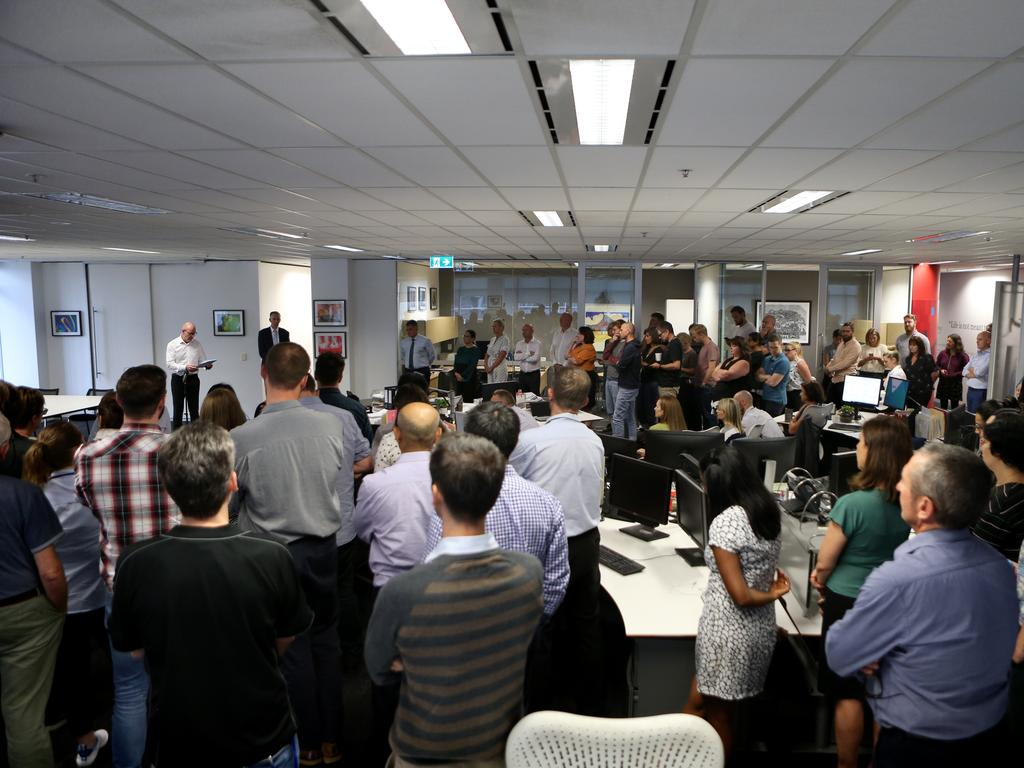 Staff at AAP in Sydney gather for the closure announcement. Picture: AAP