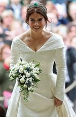 Princess Eugenie arrives for her wedding to Jack Brooksbank at St George's Chapel in Windsor Castle on October 12, 2018 in Windsor, England. (Photo by Yui Mok - WPA Pool/Getty Images)