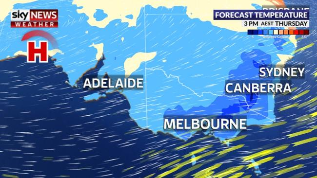Just 24 hours later the cold weather will have swept across the entire south east of Australia. Picture: Sky News