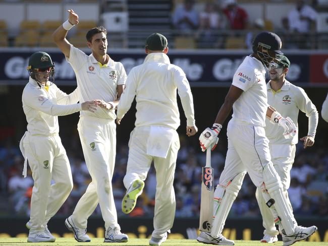 Australia start to swarm Starc after his 200th wicket.