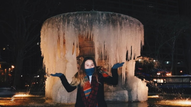 Frozen fountains, all in a day's work. Image: Abbey Lenton.