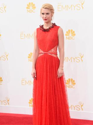Claire Danes attends the 66th Annual Primetime Emmy Awards.