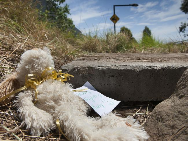 A soft toy is left at the site beside the M7 in Quakers Hill where the newborn was found on Sunday. Picture: Melvyn Knipe