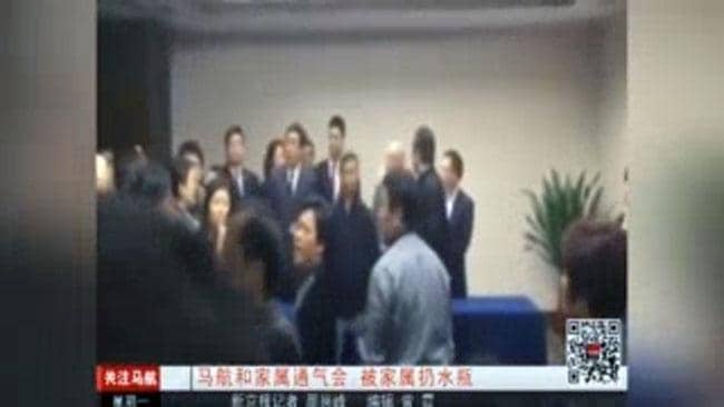 Bottles thrown during Malaysia Airlines press conference