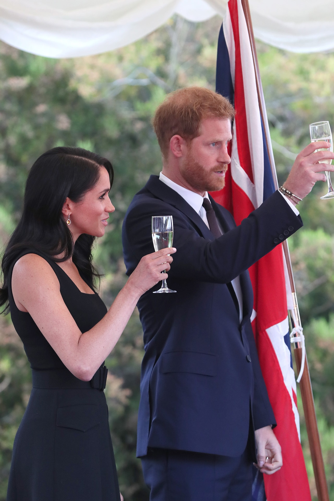 The Duke and Duchess of Sussex at a garden reception in Dublin, Markle wears Emilia Wickstead. Image credit: Getty Images