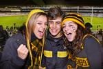 Tigers fans Sophie, Jed and Grace travelled from Traralgon for the traditional season opener against Carlton.