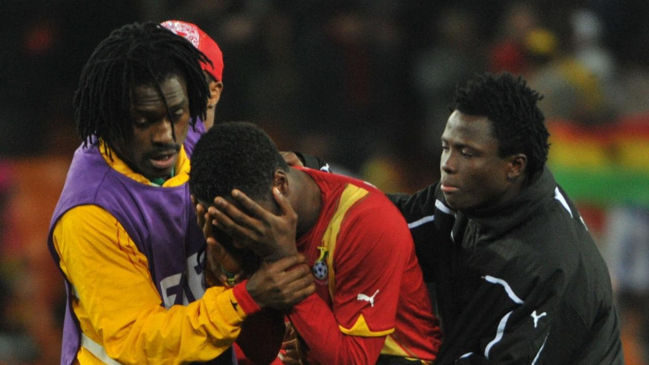 Gyan was inconsolable after missing his crucial penalty at the World Cup in 2010