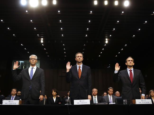 Facebook's General Counsel Colin Stretch, Twitter's Acting General Counsel Sean Edgett, and Google's Senior Vice President and General Counsel Kent Walker, are sworn in for a Senate Intelligence Committee hearing on Russian election activity. Picture: AP