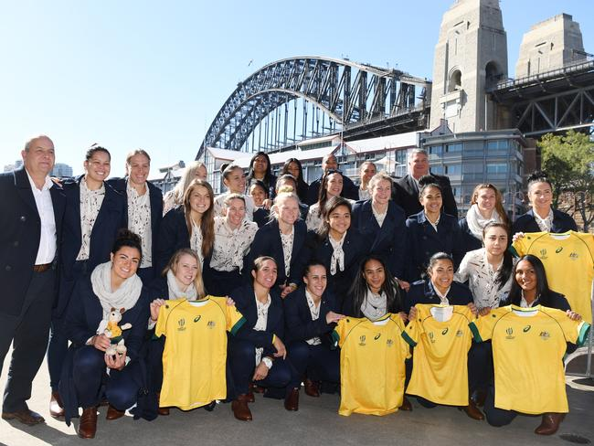 The Wallaroos rugby union team in Sydney before leaving for the World Cup.