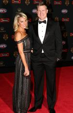 Nathan Buckley coach of Collingwood and Tania Buckley on the Brownlow red carpet.