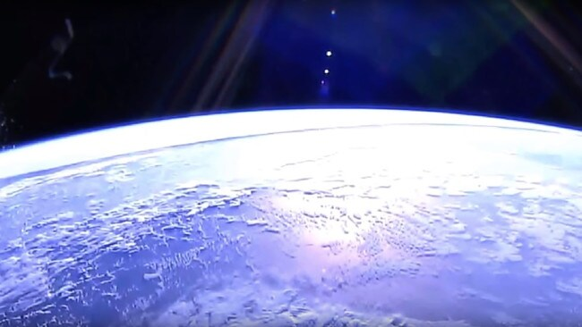This mysterious line appeared on an ISS live video feed.