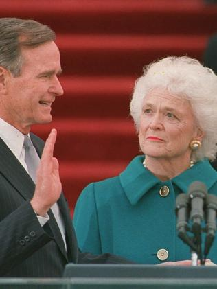 President George H.W. Bush is sworn into office as the 41st president of the United State in 1989. Picture: AP