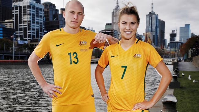 a9bf6750a Socceroo Aaron Mooy and Matilda Steph Catley for the 2017 kit launch.
