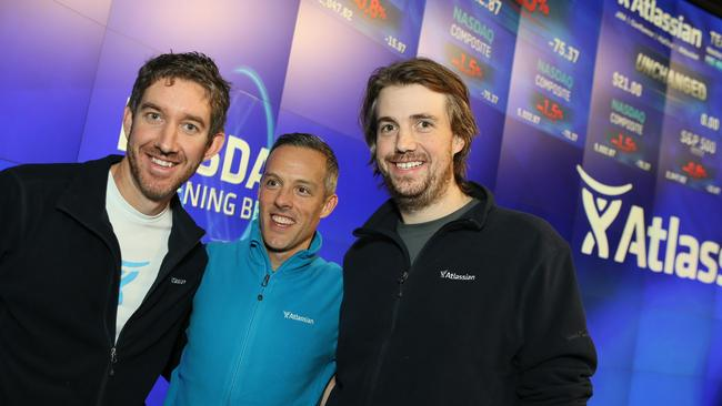 Atlassian co-founders Scott Farquhar (left) and Mike Cannon-Brookes (right) with President Jay Simons when the company debut on the US NASDAQ exchange in December 2015.