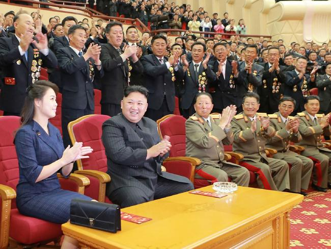Ms Ri and her husband were treated to a performance of patriotic song and dance at an event honouring the country's nuclear developers at the weekend. Picture: AFP / KCNA VIA KNS / STR /
