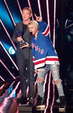 Calvin Harris and Justin Bieber onstage during the iHeartRadio Music Awards. Picture: Getty