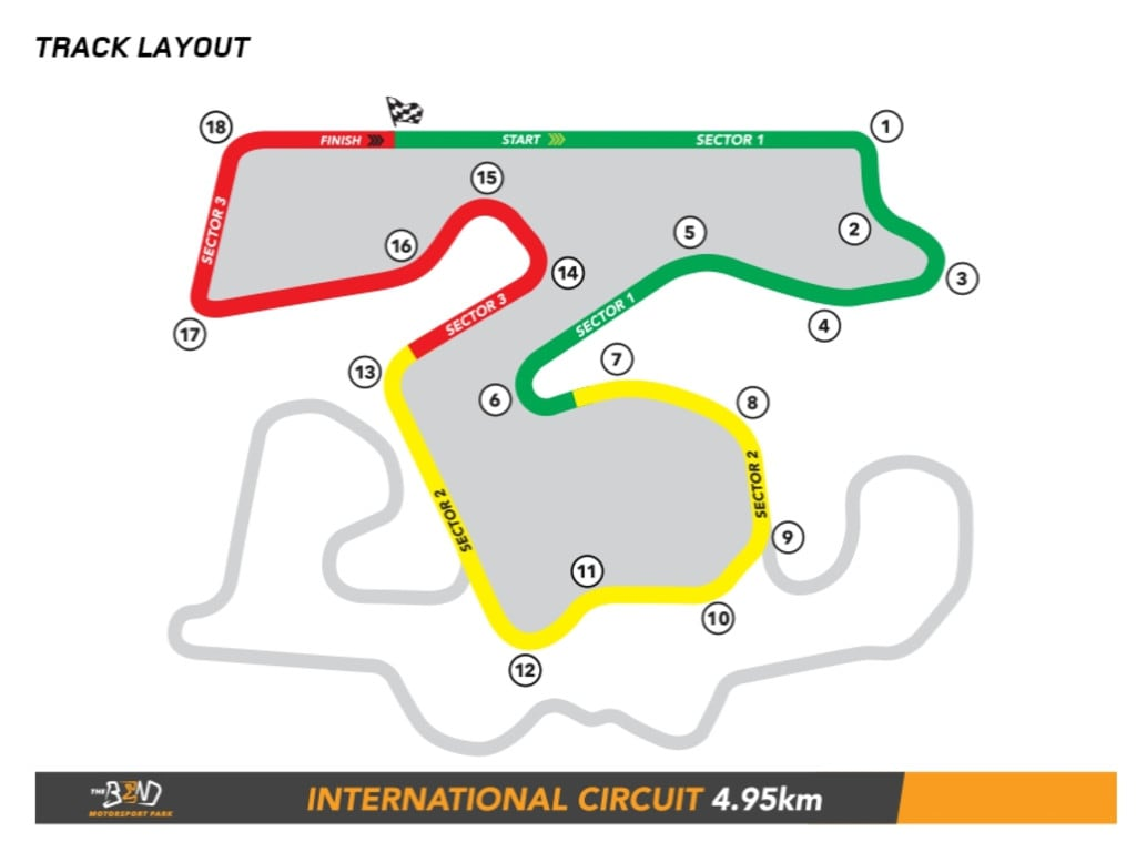 Supercars will use the 4.95km International Circuit.