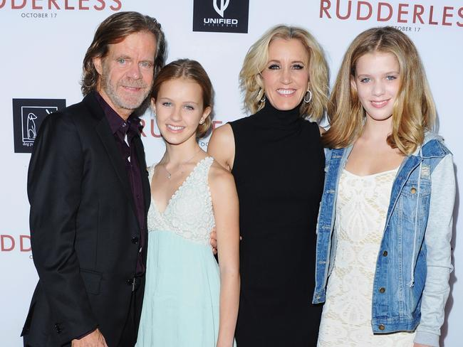 William H. Macy and Felicity Huffman with daughters Georgia and Sofia. Picture: Jon Kopaloff/FilmMagic