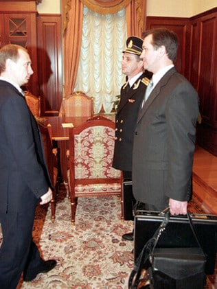 "Then acting President Vladimir Putin receiving the 'nuclear briefcase' for controlling Russia's nuclear forces in 1999. Picture:  <a href=""http://www.kremlin.ru/"">Kremlin.ru</a> [ <a href=""https://creativecommons.org/licenses/by/4.0/deed.en"">Creative Commons 4.0]</a>"