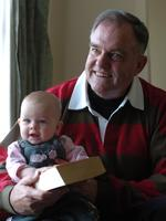 Bob Such, with his grand-daughter Elise, after he underwent surgery to remove cancer to his prostate.