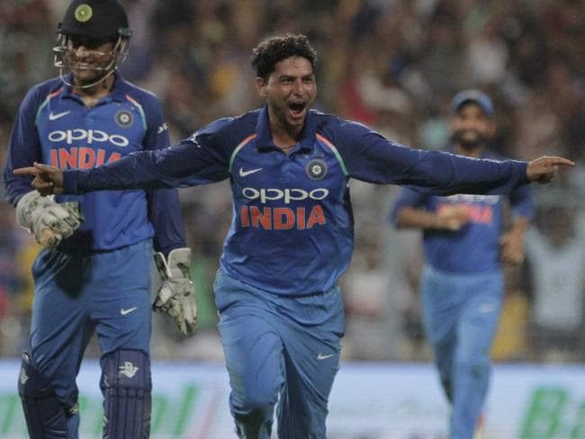 India's Kuldeep Yadav celebrates after completing his hat-trick.