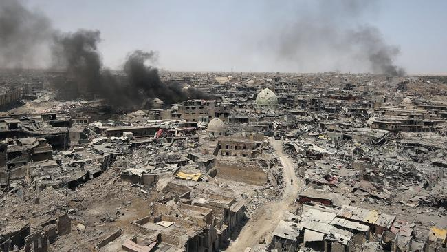 Mosul is in ruins after nine months of devastating urban warfare and aerial bombing. Picture: AFP