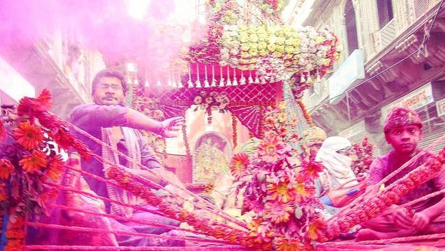 Celebrating the Holi festival in Vrindavan. Picture: Alexis Carey
