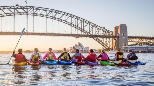Sydney Kayakers are taking people out for a Christmas sunrise paddle of the harbour on December 25. Picture: Supplied
