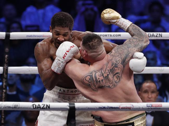 Andy Ruiz trades blows with Anthony Joshua. (AP Photo/Hassan Ammar)