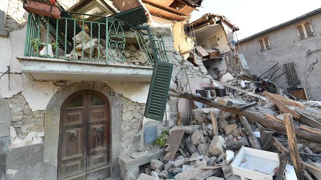 Just one scene from the Italy earthquake devastation. Picture: AFP/Alberto Pizzoli