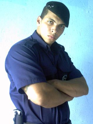 Romario dos Santos Alves in his security guard uniform before he started injecting. Picture: Pedro Ladeira/Barcroft USA