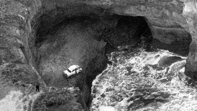 The Crawford family, who were found dead in the family car, at the bottom of a cliff at Port Campbell, on Victoria's west coast. Retrieval of the family sedan. The bodies of Elmer Crawford's wife Therese and their three children, Kathryn, 13, James, 8, and Karen, 6, were found battered, electrocuted and suffocated.