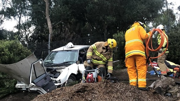 An elderly man is in a serious condition after crashing into a fence at Greenstead Nursery in Tea Tree Gully. Picture: Callum MacPherson/7 News Adelaide