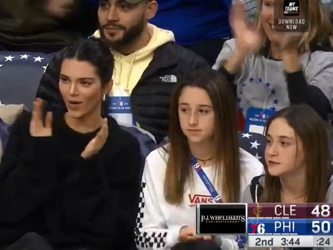 Kendall Jenner supporting Ben Simmons. Picture: Twitter