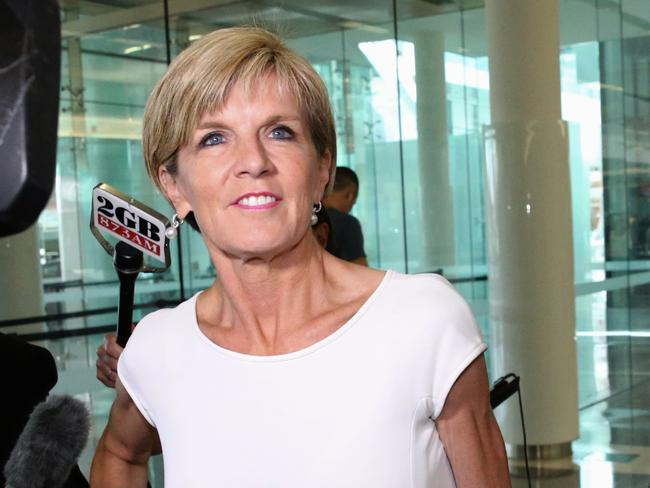 Back in the capital ... Foreign Minister Julie Bishop arrives at Canberra Airport. Picture: Ray Strange