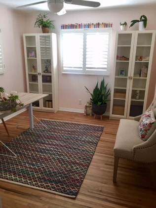 Margie's new supremely organised craft room. Picture: Supplied