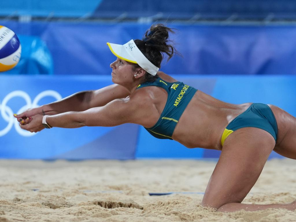 Mariafe Artacho del Solar of Australia competes during the women's preliminary match of beach volleyball between Mariafe Artacho del Solar/Taliqua Clancy of Australia and Marta Menegatti/Viktoria Orsi Toth of Italy at Tokyo 2020 Olympic Games in Tokyo, Japan, July 28, 2021. (Photo by Li Ga/Xinhua via Getty Images)