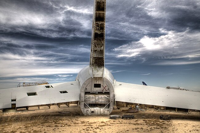 The Mojave Desert in California, US, is a famous plane graveyard, and is home to hundreds of inactive planes. Picture: Ransom Riggs / adapted from mentalfloss.com and used with permission