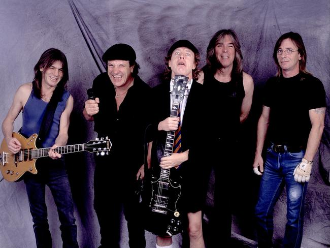 Malcolm Young, Brian Johnson, Angus Young, Cliff Williams, and Phil Rudd in 2001. Picture: Getty