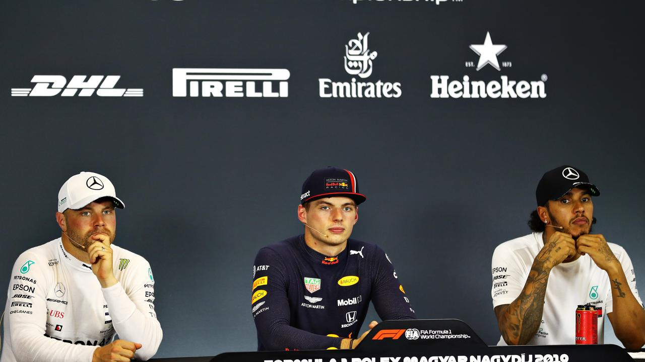 Verstappen sandwiched between the Mercedes duo after qualifying.