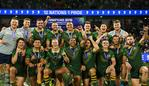 SYDNEY, AUSTRALIA - OCTOBER 19: Players of Australia celebrate victory with the trophy during the Final Rugby League World Cup 9s match between Australia and New Zealand at Bankwest Stadium on October 19, 2019 in Sydney, Australia. (Photo by Brett Hemmings/Getty Images)