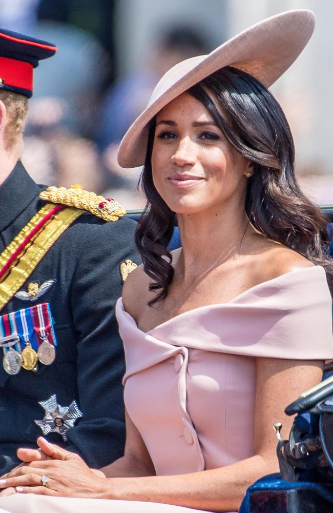 Meghan Markle, Duchess of Sussex, arriving at the Queen's birthday celebrations.