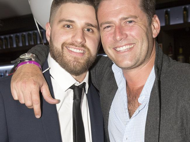 Daniel Hadley with Karl Stefanovic at his father's 60th birthday party in Sydney. Picture: Damian Shawa