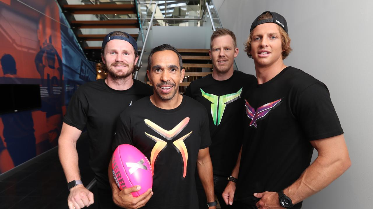 AFL X JUMPER. Captain of the Deadlies, Eddie Betts, in a jumper designed by Neville Jetta. Patrick Dangerfield, Eddie Betts, Jack Riewold and Nat Fyfe.. . Picture: Alex Coppel