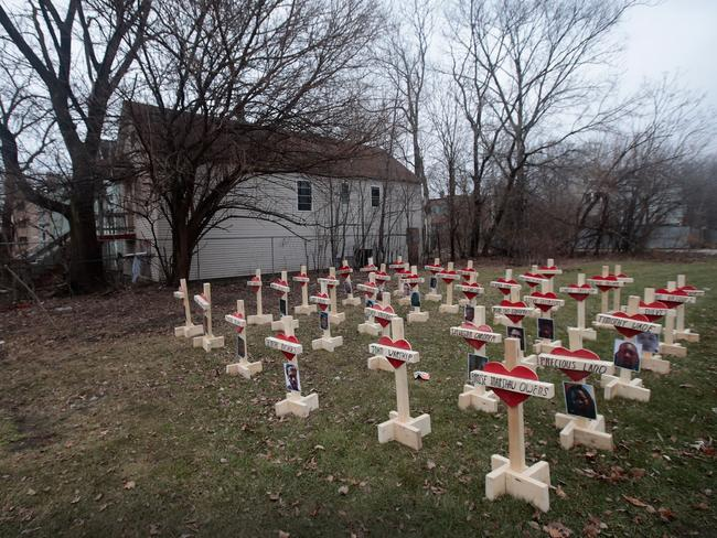 Greg Zanis created a memorial on a vacant block in Chicago. Picture: Scott Olson/Getty Images
