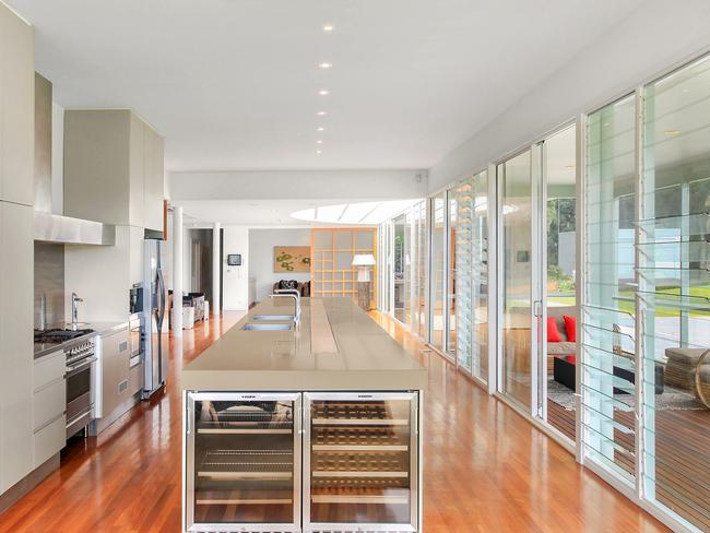 The massive island bench top is a terrific centrepiece for entertaining. Picture: McGrath Terrigal