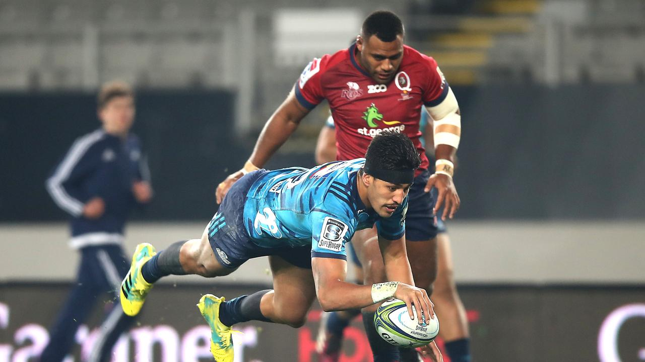 Rieko dives over for a first half try against the Reds at Eden Park.