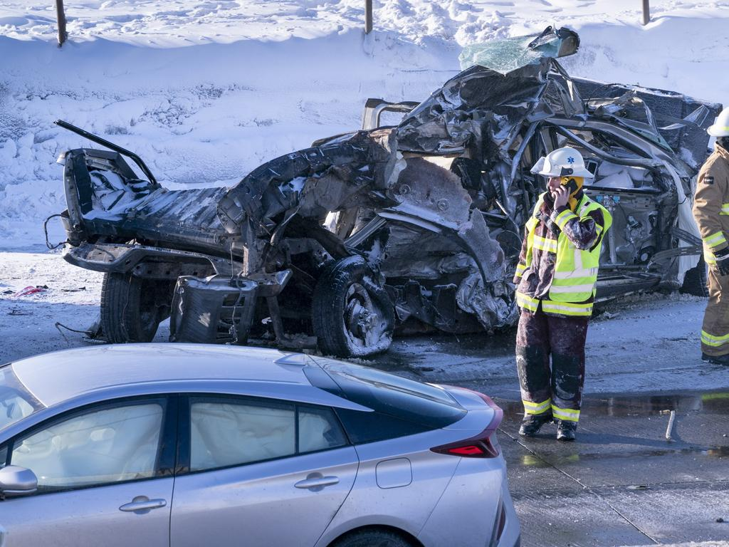 Two people were killed in the massive pileup. Picture: Paul Chiasson/The Canadian Press via AP