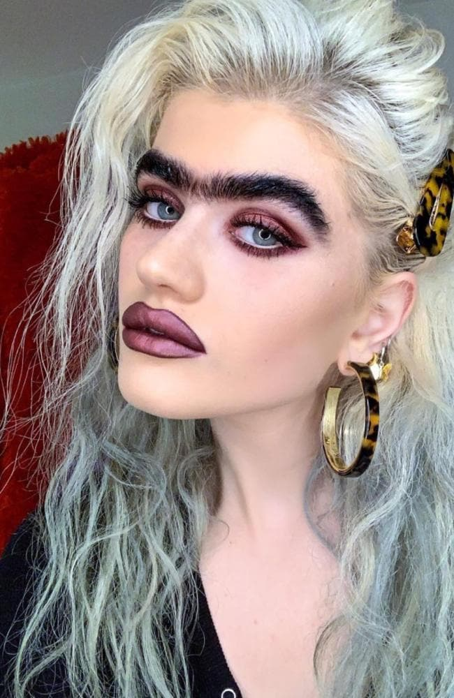 Model Sophia Hadjipanteli continues to get mocked for her jet black monobrow. Picture: Instagram