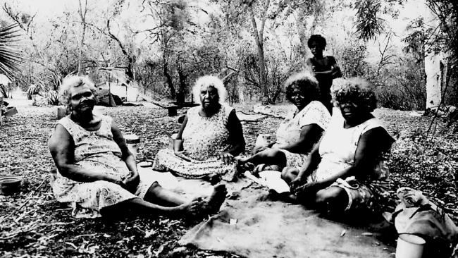 Waanyi woman, Nancy Gregory and friends camped at Lawn Hill National Park Land Rights site in 1994.
